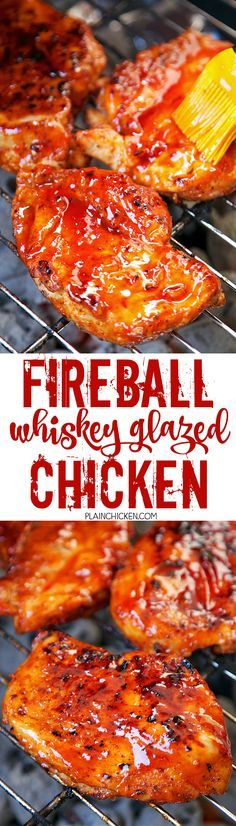 Fireball Whiskey Glazed Chicken - chicken basted with an amazing homemade Fireball BBQ sauce. Ketchup, red pepper jelly, vinegar, onion, garlic, cayenne pepper and Fireball Whiskey. This is SO good! I made this for a party and everyone raved about it! A new favorite! Can make the Fireball BBQ sauce ahead of time and refrigerate for later. We ate this 2 weeks in a row!!