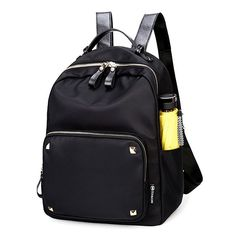 How nice Fashion Black Rose Simple Nylon Splicing PU Rivets Waterproof School Backpack ! I like it ! I want to get it ASAP!