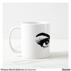 Womens Sketch Eyebrows Basic White Mug