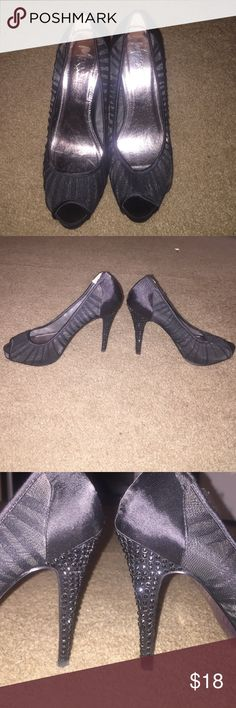 Black, tall, lace heels Size 8. Jeweled heel with black rhinestones.  Lace material with open toe. Never worn. Perfect condition. Mixx Shuz Shoes Heels