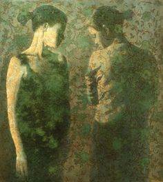 oil painting of two female figures on a lace background green by susan hall