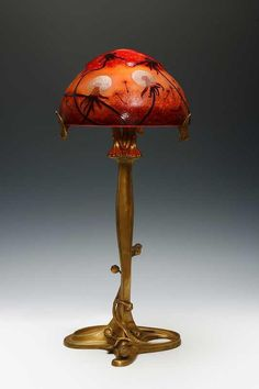 Daum Frères, Nancy, and Louis Majorelle Bronze and Wheel Carved Art Nouveau Glass Lamp