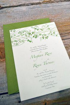 MAEVE - IRISH Wedding Invitation Set on recycled paper. $2.30, via Etsy.