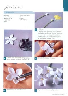 Discover thousands of images about Todo Flores de Porcelana Fria: Jazmin Paso a Paso Cold Porcelain Flowers, Ceramic Flowers, Fondant Rose, Fondant Flowers, Polymer Clay Flowers, Polymer Clay Jewelry, Cold Porcelain Tutorial, Fondant Flower Tutorial, Sugar Paste Flowers