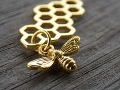 4 Gold Honeycomb Connector Charms with Gold Bee Dangle 46mm by AliCsSupplyShop on Etsy