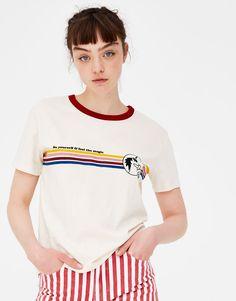 Pull&Bear - γυναικεία - ενδύματα - μπλουζάκια - μπλούζα basic μαύρη με μονόκερο - εκρου ανοιχτο - 05230315-V2018