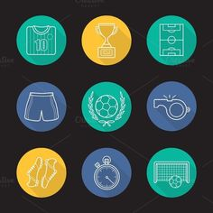 Soccer. 9 icons. Vector. Sport Icons. $5.00