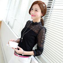 2015 Primavera Outono blusa feminina Elegante Sexy lace camisa de manga longa Mulheres Marca Chiffon Blusa Mulheres tops de renda 95B 30(China (Mainland))