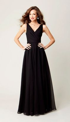 The perfect V-neck to flatter your ladies!| Kennedy Blue Bridesmaid Dress Anna | Kennedy Blue | #black #straps #long