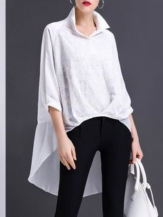Shop Tunics - White Asymmetrical Shirt Collar Long Sleeve Folds Tunic online. Discover unique designers fashion at StyleWe.com.