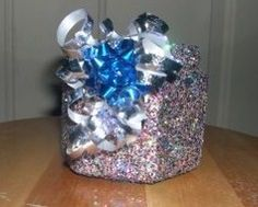 Handcrafted present Jar in Dashingbootzs Garage Sale in Kenosha , WI for $5. This is handcrafted by myself, its a beautiful jar in a present box type style... Very cute great gift for anyone or awesome to add to your own glass collection, acrylic overlay so that the glitter lasts forever!