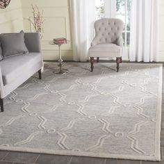 Safavieh Handmade Cambridge Light Grey/ Ivory Wool Rug (8' x 10')