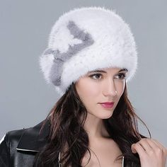 76255a7602a URSFUR Genuine Mink Beret Ladies Winter Fur Hat Cap Multicolor