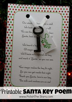 Printable Santa Key Poem - Polish The Stars - @Karen Helbig Hayden, look at this!