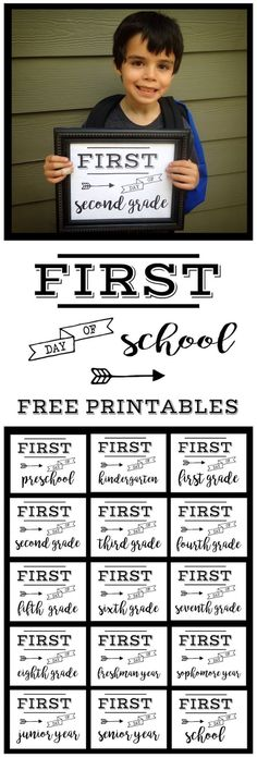 First Day of School Sign Free Printable art poster. Preschool, Kindergarten, First Grade, through Senior year. Print this sign for back to school…