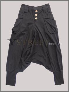 Drop Crotch Harem Baggy Stretch Cotton Pants, B012