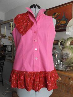 Designer Hot Pink Sleeveless Blouse With by MissPoppysFancy