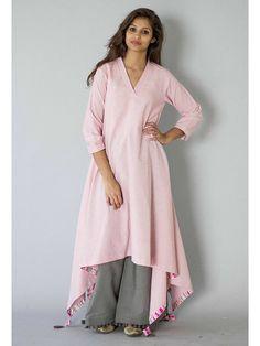 Pink Patang Tassel Khadi Kurta with Grey Palazzo