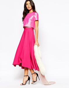 Fame And Partners Domino 2 In 1 Full Prom Skater Dress With High Low Hem