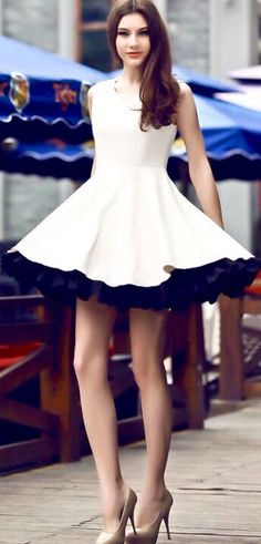 Long great legs under beautiful dress