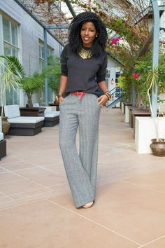 Grey Trousers Black Top