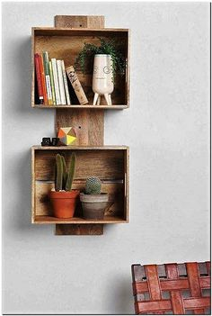 fruit crates wall shelf