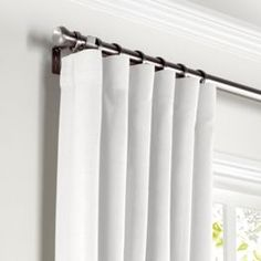 White Lightweight Linen Curtains with Pocket Close Up