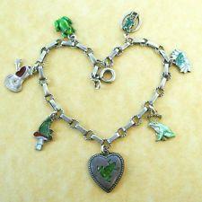 Antique Vintage 800 Silver Enamel Frog Charm Bracelet Your Pad or Mine?