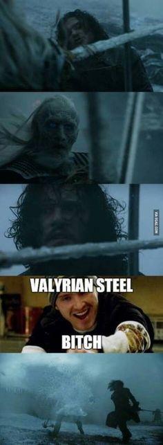 Jon Snow and his Valyrian Steel sword Winter Is Here, Winter Is Coming, Jon E Daenerys, Daenerys Targaryen, Khaleesi, Breking Bad, Jon Snow, Game Of Thrones Meme, Kit Harrington