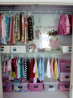 Organized little girls closet. Utilizing space with 2 rows to hang clothes since little girls clothes are so small.