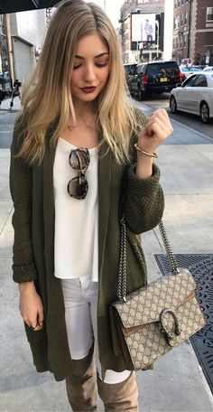 Green Maxi Cardigan / White Top / White Skinny Jeans / Brown OTK Boots