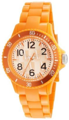 L by ELLE Women's LE50007P07 Orange Plastic Orange Color Bezel Watch L by ELLE. $29.50. Water-resistant to 33 feet (10 M). Japan Analog-Quartz movement. Orange dial watch. Orange plastic watch. Fashion plastic analog watch