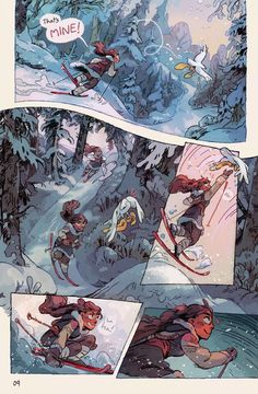 Kochab is a fantasy webcomic about a lost skiier stumbling upon a fire spirit sleeping in a frozen palace, and both of them trying to get back home in one piece. Comic Style Art, Comic Styles, Comic Book Layout, Graphic Novel Art, Comic Kunst, Short Comics, Amazing Drawings, Matte Painting, Comic Page