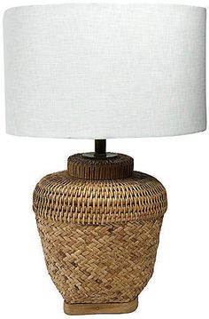 Handwoven Asian basket lamp with a crisp white linen shade. Lamp with shade: Shade: x Base: to socket. Asian Baskets, Wicker Lamp Shade, Hand Weaving, Shades, Lighting, Home Decor, Hand Knitting, Decoration Home, Room Decor