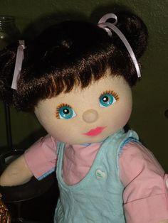 Mattel My Child Doll Aussie Brunette Aqua Eyes Peach/Pink Waif Nude READ