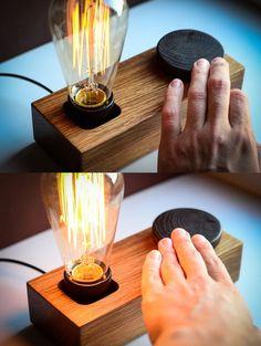Tischlampen - edison DIMMERSCHALTER lampe BLOCK#35 holz lampe - ein Designerstück von dtchss bei DaWanda