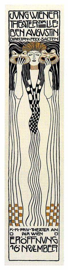 Poster for Felix Salzens Jung Wiener Theatre with Lieben Augustin by Koloman Moser, 1901 Illustration Art Nouveau, Art Nouveau Poster, Poster Art, Gustav Klimt, Koloman Moser, Vintage Advertising Posters, Vintage Posters, Alphonse Mucha Art, Jugendstil Design