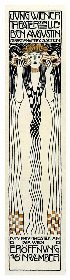 "PG019 ""Poster for Felix Salzens Jung Wiener Theatre with lieben Augustin"" by Koloman Moser (1901)"