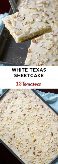 Check out this step-by-step recipe for a White Texas Almond Sheet Cake, made with sour cream, gluten-free flour, almonds + topped with a vanilla glaze. Just Desserts, Delicious Desserts, Dessert Recipes, Yummy Food, Food Cakes, Cupcake Cakes, Cupcakes, White Texas Sheet Cake, Yummy Treats