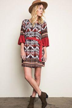 Sweet Rendezvous Printed Dress