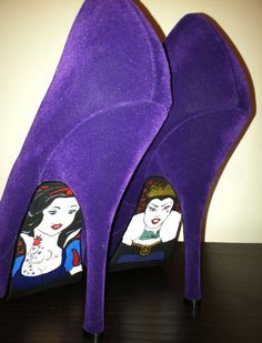 NEED to have someone make me several pair of handpainted Disney heels...Snow White and the Evil Queen Purple Suede Velvet by jenuineB