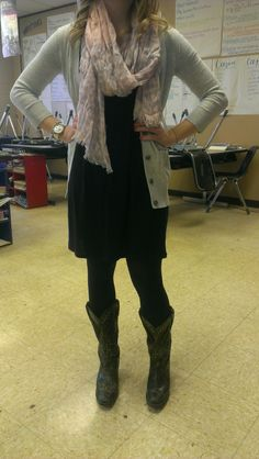 Perfect teacher outfit. Black dress, leggings, cowgirl boots, sweater, and scarf. Perfect!! Must add to my closet.