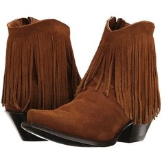 Dan Post Jules (Amber Suede) Cowboy Boots ($195) ❤ liked on Polyvore featuring shoes, boots, mid-calf boots, fringe cowgirl boots, suede fringe boots, western boots, dan post boots and suede cowboy boots