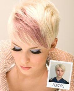 Peek a boo pink hilight...short haircut