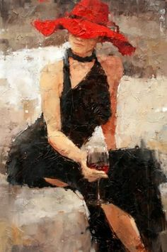 Andre Kohn - Red Hat, Black Dress, Burgundy Glass of Wine - Google Search