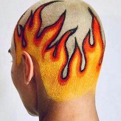 When you create true fire 🔥 Shaved Head Designs, Dyed Hair Men, Buzzed Hair, Creative Hair Color, Men Hair Color, Bald Hair, Hair Tattoos, Hair Brained, Aesthetic Hair