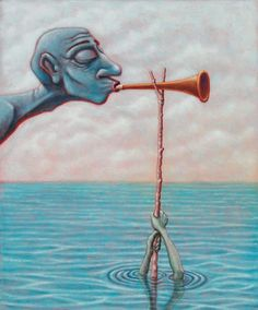 Lowbrow Pop Surrealism limited edition art print by Pete Gorski titled: Don't Blow Your Own Horn, Let Someone Else Blow Lowbrow Art, Pop Surrealism, Various Artists, Surreal Art, All Print, Dark Art, Creative Art, Horns, Creepy