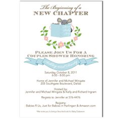Blue Stock The Library Story Book Baby Shower Invitation Bring A Boy Theme Invite Printable File Digital 0114