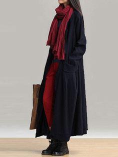 f16b5e8be69 Casual Women Long Sleeve Solid Color Pockets Lace-up Long Outerwear Coats  Winter Coats Women