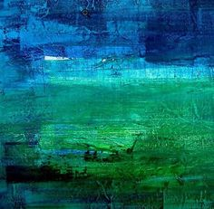 Irridescent Blue Green Abstract Painting Acrylic Colors Pattern Art